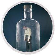 1960s Slumped Over Alcoholic Man Round Beach Towel