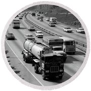 1960s Tanker Truck Traveling On Busy Round Beach Towel