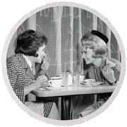 1960s Two Women Gossiping At Lunch Round Beach Towel