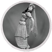 1960s Woman In Belly-dancer Costume Round Beach Towel
