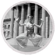 1960s Woman In Middle Eastern Belly Round Beach Towel
