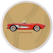 1961 Chevrolet Corvette Round Beach Towel