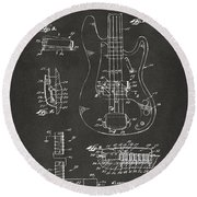 1961 Fender Guitar Patent Artwork - Gray Round Beach Towel by Nikki Marie Smith