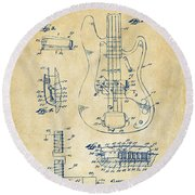 Round Beach Towel featuring the digital art 1961 Fender Guitar Patent Artwork - Vintage by Nikki Marie Smith