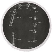 1963 Space Capsule Patent Gray Round Beach Towel