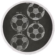 1964 Soccerball Patent Artwork - Gray Round Beach Towel