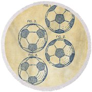 1964 Soccerball Patent Artwork - Vintage Round Beach Towel by Nikki Marie Smith