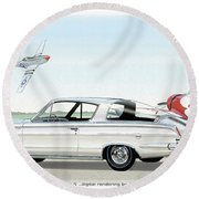 1965 Barracuda  Classic Plymouth Muscle Car Round Beach Towel by John Samsen