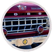 1965 Ford American Lafrance Fire Truck Round Beach Towel