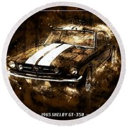 1965 Ford Shelby Mustang Gto-350 #5 Round Beach Towel