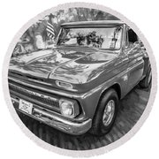 1966 Chevy C10 Pick Up Truck Painted Bw Round Beach Towel