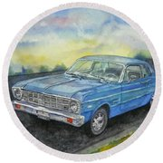 Round Beach Towel featuring the painting 1967 Ford Falcon Futura by Anna Ruzsan