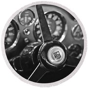 1968 Aston Martin Steering Wheel Emblem Round Beach Towel
