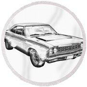 1968 Plymouth Roadrunner Muscle Car Illustration Round Beach Towel by Keith Webber Jr