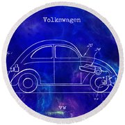 1968 Vw Patent Drawing Blue Round Beach Towel