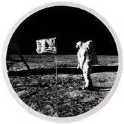 1969 Astronaut Us Flag And Leg Of Lunar Round Beach Towel