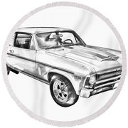 1969 Chevrolet Nova Yenko 427 Muscle Car Illustration Round Beach Towel by Keith Webber Jr
