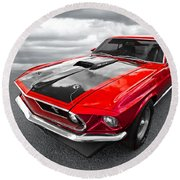 1969 Red 428 Mach 1 Cobra Jet Mustang Round Beach Towel