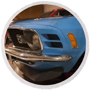 1970 Mustang Mach 1 And Other Classics Hidden In A Garage Round Beach Towel