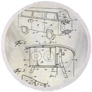 1970 Vw Patent Drawing Round Beach Towel