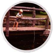1970s Barefoot Blond Boy Fishing Round Beach Towel