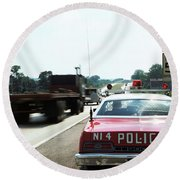 1970s Police Car With Radar Gun Round Beach Towel