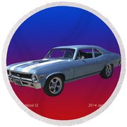 1971 Chevy Nova S S Round Beach Towel