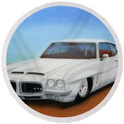 Round Beach Towel featuring the painting 1972 Pontiac Gto by Thomas J Herring