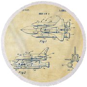 1975 Space Shuttle Patent - Vintage Round Beach Towel