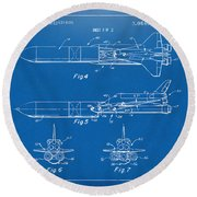 1975 Space Vehicle Patent - Blueprint Round Beach Towel