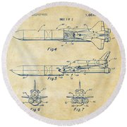 1975 Space Vehicle Patent - Vintage Round Beach Towel
