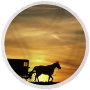 1980s Amish Horse And Buggy Silhouetted Round Beach Towel