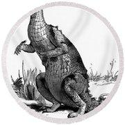 1990s Engraving Of Dinosaur Iguanodon Round Beach Towel