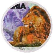 1993 Nigerian Lion Stamp Round Beach Towel