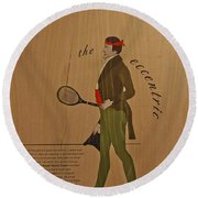19th Century Tennis Player 2 Round Beach Towel