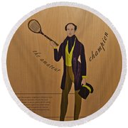 19th Century Tennis Player 3 Round Beach Towel