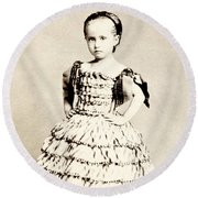 1865 Defiant American Girl Round Beach Towel by Historic Image