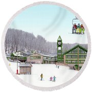 1st Snow At Hidden Valley Round Beach Towel