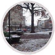 Round Beach Towel featuring the photograph 1st Snow Public Square by Christina Verdgeline