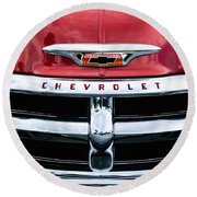 1955 Chevrolet 3100 Pickup Truck Grille Emblem Round Beach Towel