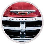 1955 Chevrolet 3100 Pickup Truck Grille Emblem Round Beach Towel by Jill Reger