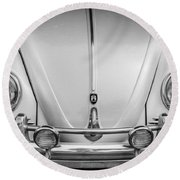 1960 Volkswagen Beetle Vw Bug   Bw Round Beach Towel