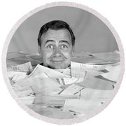 1960s Man Buried Up To His Neck Round Beach Towel