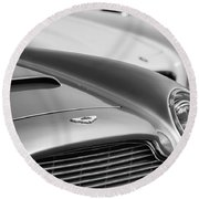 1966 Aston Martin Db6 Hood Emblem -1176bw Round Beach Towel
