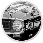 1969 Shelby Cobra Gt500 Front End - Grille Emblem Round Beach Towel by Jill Reger