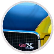 Round Beach Towel featuring the photograph 1970 Buick Gsx Grille Emblem by Jill Reger