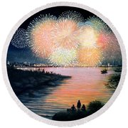 4th Of July Gloucester Harbor Round Beach Towel by Eileen Patten Oliver