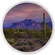 A Beautiful Desert Evening  Round Beach Towel