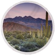 A Desert Sunset  Round Beach Towel by Saija  Lehtonen