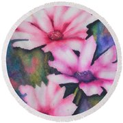 A Touch Of Pink Round Beach Towel by Chrisann Ellis
